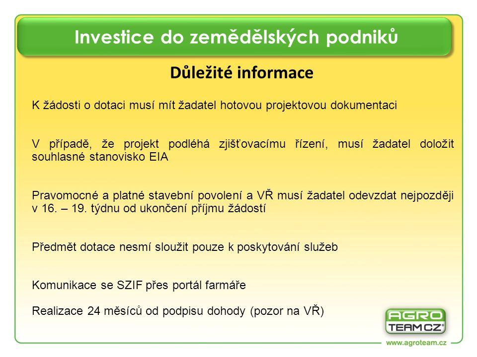 Investice do zemědělských podniků Důležité informace K žádosti o dotaci musí mít žadatel hotovou projektovou dokumentaci V případě, že projekt podléhá