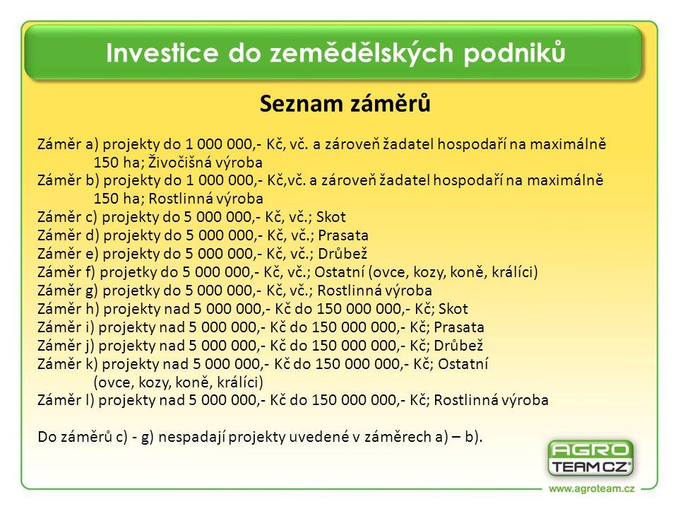 Investice do zemědělských podniků Seznam záměrů Záměr a) projekty do 1 000 000,- Kč, vč. a zároveň žadatel hospodaří na maximálně 150 ha; Živočišná vý