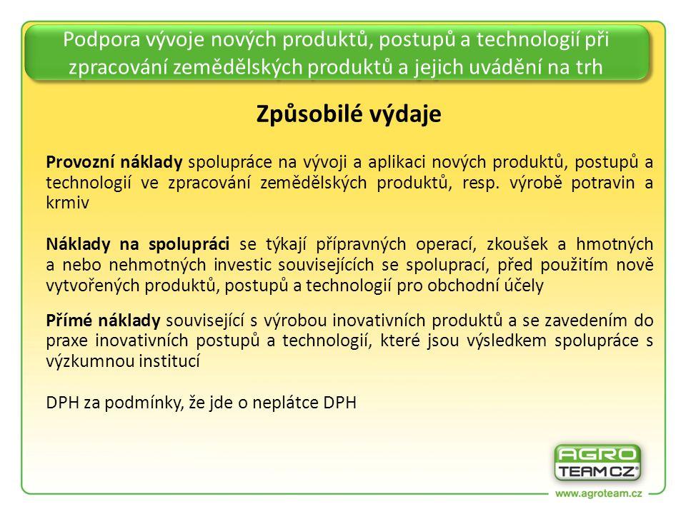 Podpora vývoje nových produktů, postupů a technologií při zpracování zemědělských produktů a jejich uvádění na trh Způsobilé výdaje Provozní náklady spolupráce na vývoji a aplikaci nových produktů, postupů a technologií ve zpracování zemědělských produktů, resp.