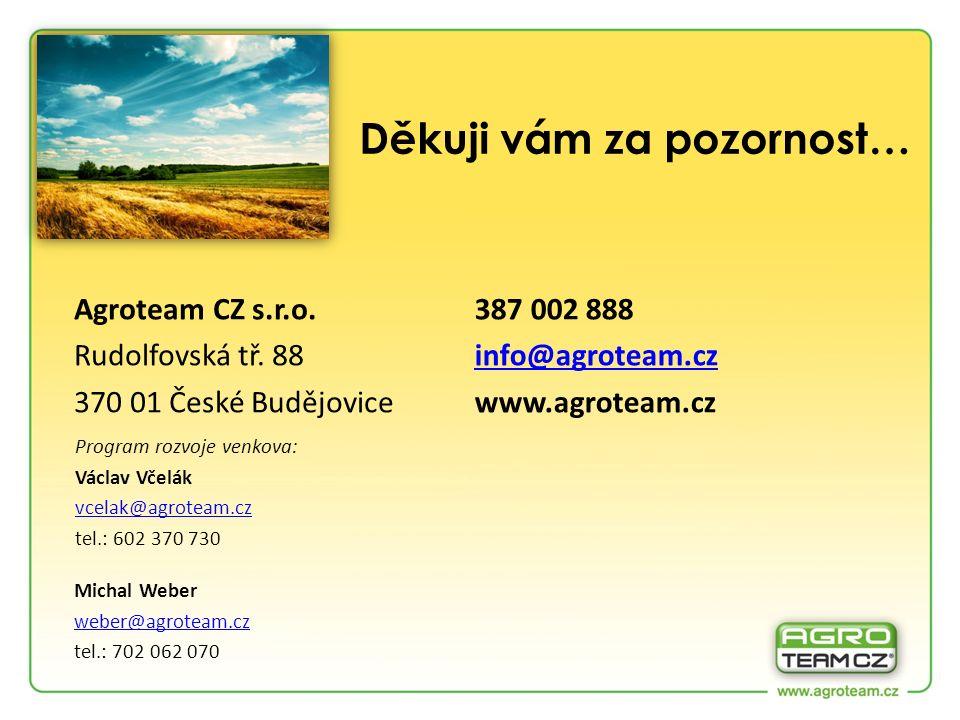 Agroteam CZ s.r.o. Rudolfovská tř. 88 370 01 České Budějovice 387 002 888 info@agroteam.cz www.agroteam.cz Děkuji vám za pozornost… Michal Weber weber