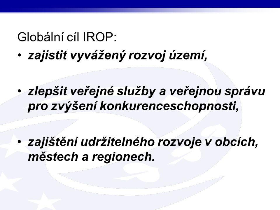 Globální cíl IROP: zajistit vyvážený rozvoj území, zlepšit veřejné služby a veřejnou správu pro zvýšení konkurenceschopnosti, zajištění udržitelného rozvoje v obcích, městech a regionech.