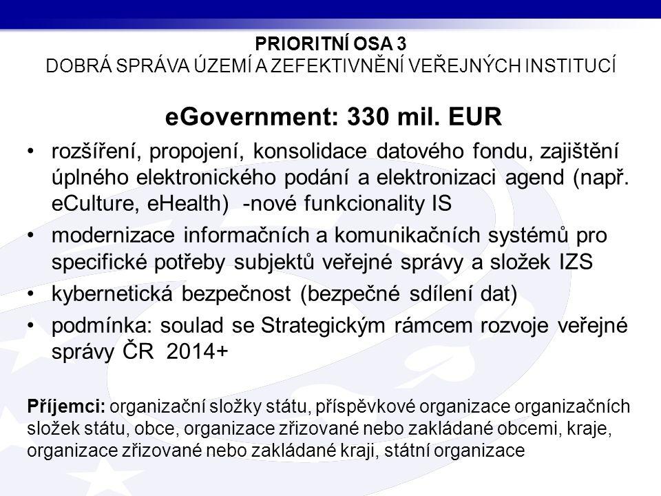 eGovernment: 330 mil. EUR rozšíření, propojení, konsolidace datového fondu, zajištění úplného elektronického podání a elektronizaci agend (např. eCult