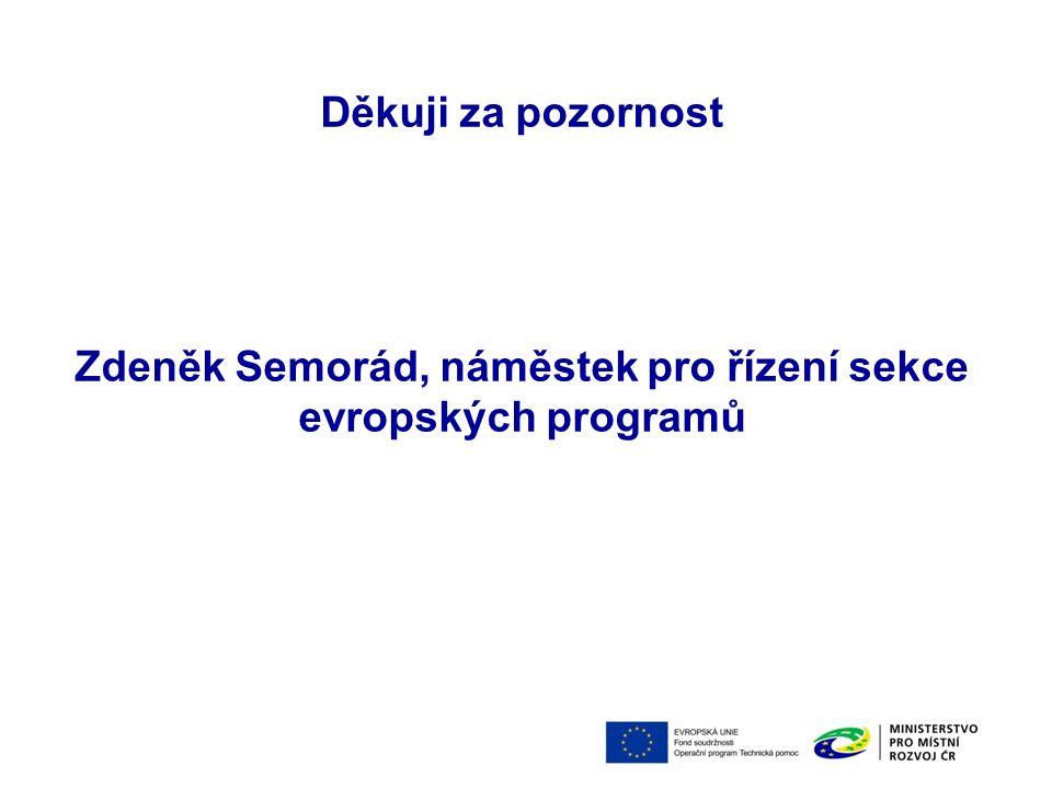 Děkuji za pozornost Zdeněk Semorád, náměstek pro řízení sekce evropských programů