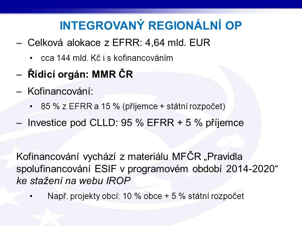 –Celková alokace z EFRR: 4,64 mld. EUR cca 144 mld.