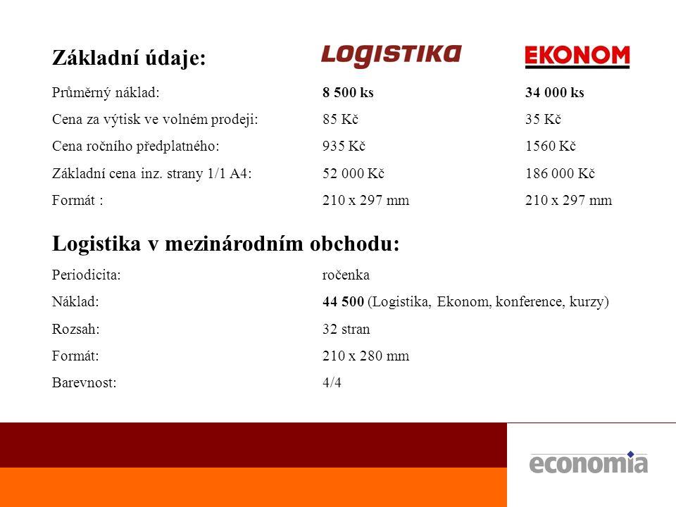 Distribuce: Primární:  všitá příloha uvnitř týdeníku Ekonom - plný prodaný náklad - 34 000  všitá příloha uvnitř měsíčníku Logistika - plný prodaný náklad - 8 500 Sekundární:  školící střediska - manažerské kurzy - logistiky - 500 ks  konference logistiky a veletrh MSV v září - 1500 ks