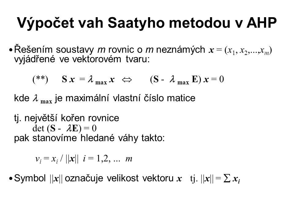 Výpočet vah Saatyho metodou v AHP Řešením soustavy m rovnic o m neznámých x = (x 1, x 2,...,x m ) vyjádřené ve vektorovém tvaru: (**)S x = max x  (S