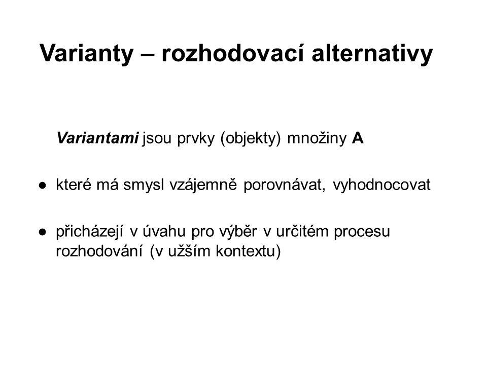 Varianty – rozhodovací alternativy Variantami jsou prvky (objekty) množiny A ●které má smysl vzájemně porovnávat, vyhodnocovat ●přicházejí v úvahu pro