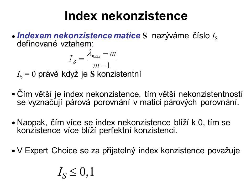 Souhrnný index nekonzistence Souhrnný index nekonzistence hierarchie je definován jako index nekonzistence prvku g (globálního cíle) z nejvyšší hierarchické úrovně L 1 Konstrukce indexu nekonzistence prvku x z hierarchické úrovně L k spočívá v tom, že se nejprve vypočte vážený součet z indexů nekonzistence podřízených prvků a ten se porovná s původním indexem nekonzistence I x, za výsledný index nekonzistence prvku x z hierarchické úrovně L k se pak vezme větší z obou čísel.
