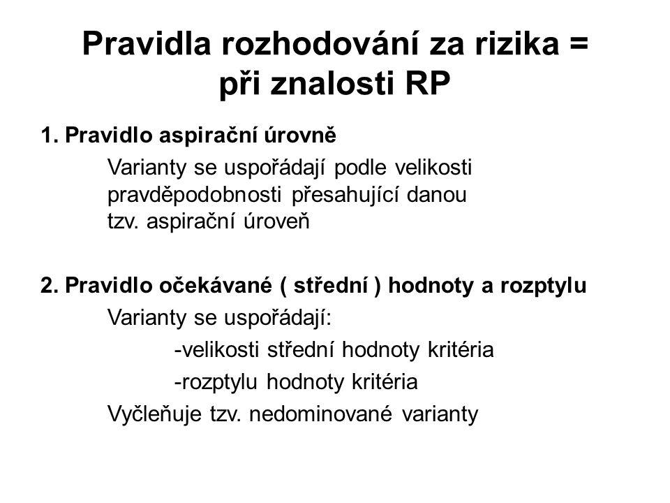Pravidla rozhodování za rizika = při znalosti RP 1. Pravidlo aspirační úrovně Varianty se uspořádají podle velikosti pravděpodobnosti přesahující dano
