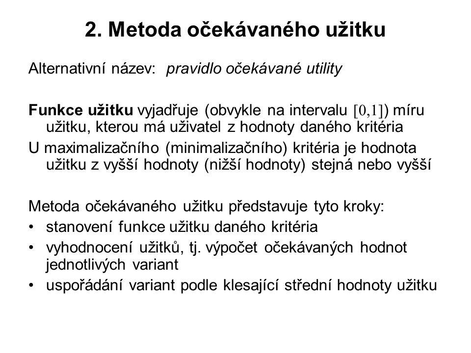 2. Metoda očekávaného užitku Alternativní název: pravidlo očekávané utility Funkce užitku vyjadřuje (obvykle na intervalu [0,1] ) míru užitku, kterou