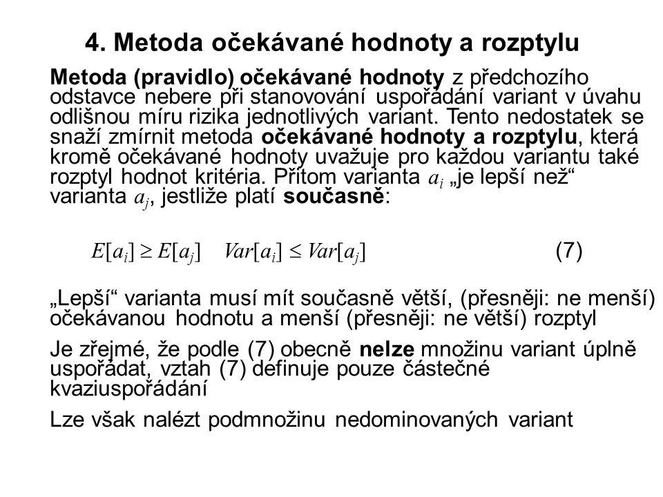 4. Metoda očekávané hodnoty a rozptylu Metoda (pravidlo) očekávané hodnoty z předchozího odstavce nebere při stanovování uspořádání variant v úvahu od