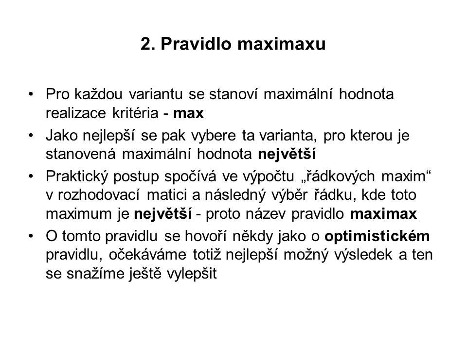 2. Pravidlo maximaxu Pro každou variantu se stanoví maximální hodnota realizace kritéria - max Jako nejlepší se pak vybere ta varianta, pro kterou je