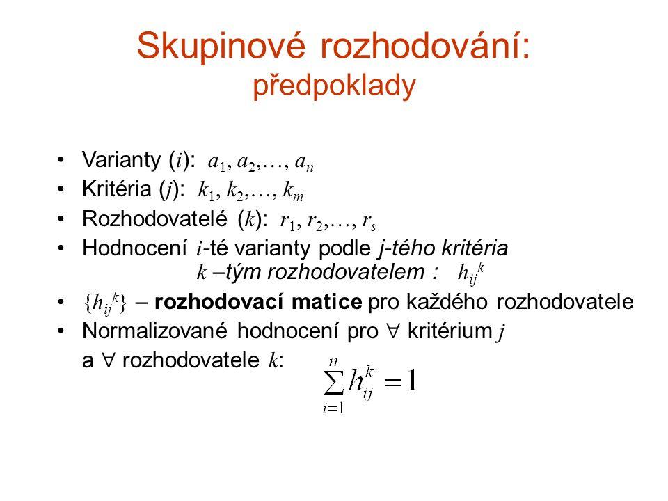Skupinové rozhodování: předpoklady Varianty ( i ): a 1, a 2,…, a n Kritéria ( j ): k 1, k 2,…, k m Rozhodovatelé ( k ): r 1, r 2,…, r s Hodnocení i -t