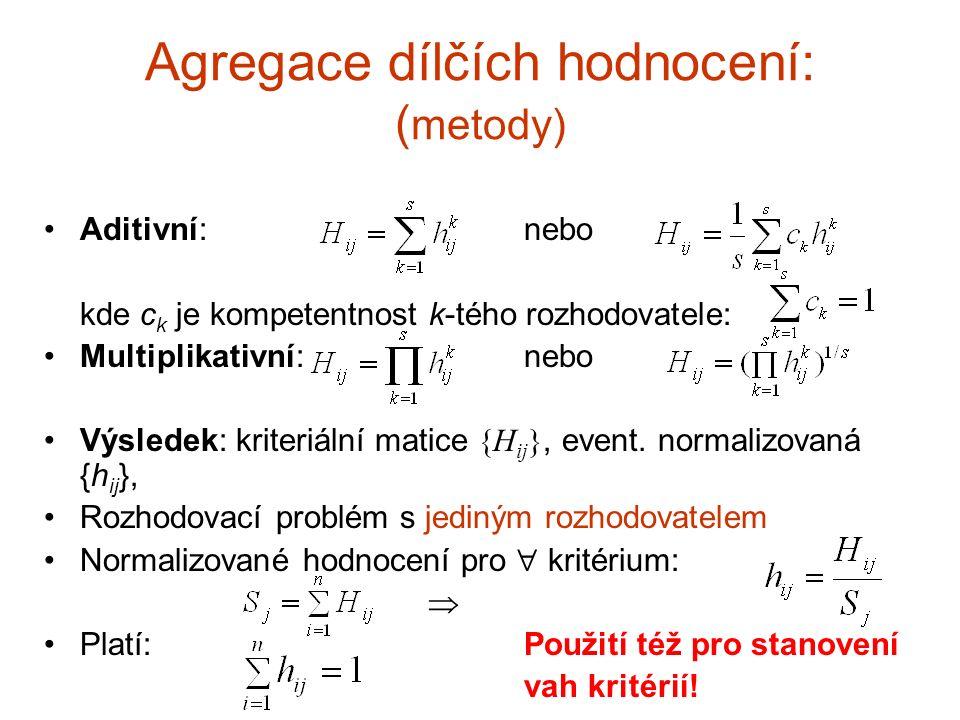 Stanovení vah kritérií Váhy kritérií: w 1, w 2,…,w m Agregace individuálních vah: aditivní nebo multiplikativní metoda (viz dříve) Agregace individuálních matic párových porovnání: