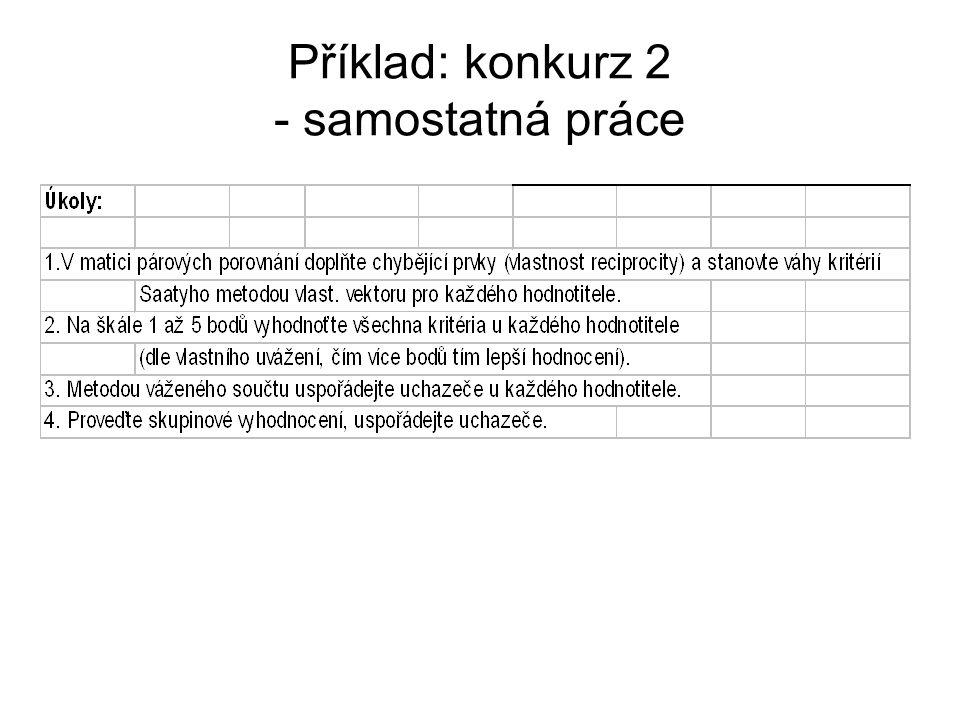 Příklad: konkurz 2 - samostatná práce