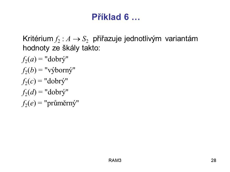 RAM328RAM328 Kritérium f 2 : A  S 2 přiřazuje jednotlivým variantám hodnoty ze škály takto: f 2 (a) =