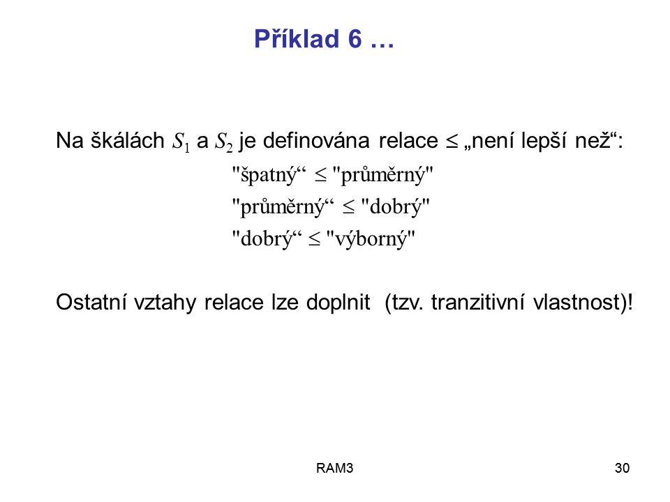 RAM331RAM331 Příklad 6 … Nedominované varianty jsou 3: A N = {b, c, e} neboť varianta a je dominována variantou b varianta d je dominována variantou e Stanovíme aspirační úrovně takto:  1 =  2 = průměrný ● ●