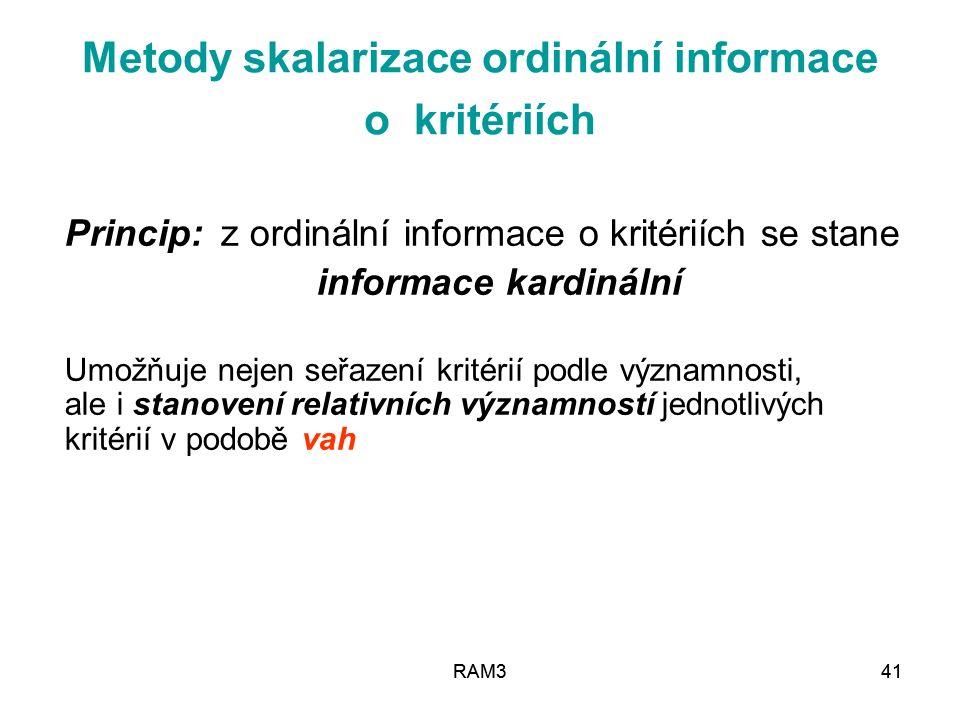 RAM341RAM341 Metody skalarizace ordinální informace o kritériích Princip: z ordinální informace o kritériích se stane informace kardinální Umožňuje ne