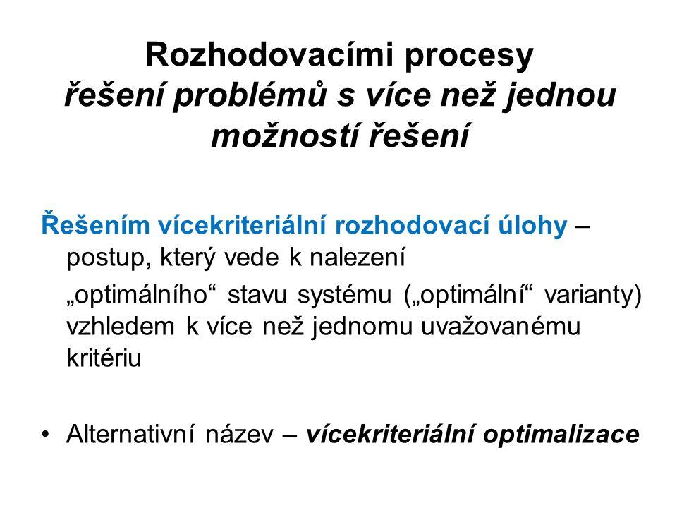 Náplň rozhodovacích procesů (kroky, fáze, etapy) Fáze 1: Formulace a stanovení cílů rozhodovacího problému Fáze 2: Volba kritérií pro rozhodování Fáze 3: Tvorba souboru variant řešících daný problém Fáze 4: Zhodnocení důsledků variant vzhledem k rozhodovacím kritériím Fáze 5: Stanovení důsledků variant při změnách vnějších podmínek Fáze 6: Konečné rozhodnutí, tj.