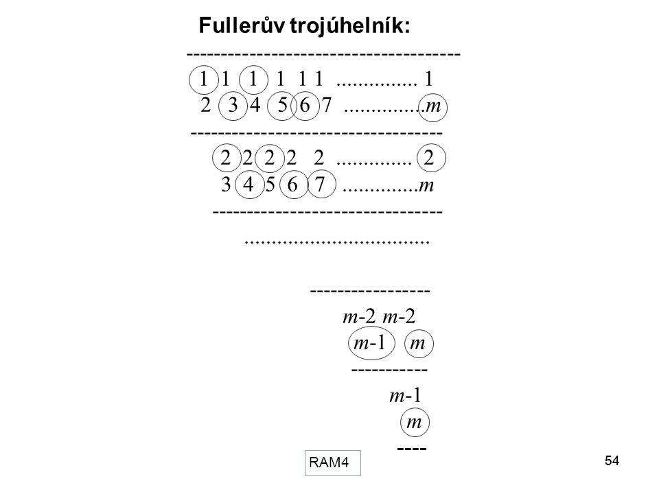 54RAM354 Fullerův trojúhelník: -------------------------------------- 1 1 1 1 1 1............... 1 2 3 4 5 6 7...............m -----------------------