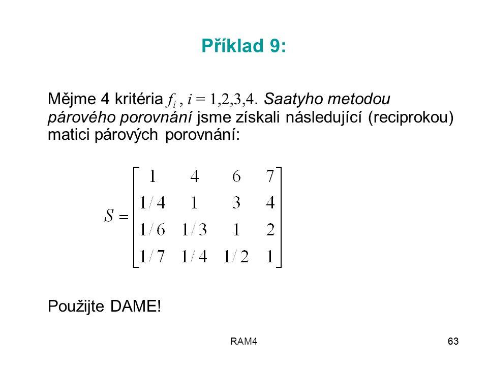 RAM463 Příklad 9: Mějme 4 kritéria f i, i = 1,2,3,4. Saatyho metodou párového porovnání jsme získali následující (reciprokou) matici párových porovnán