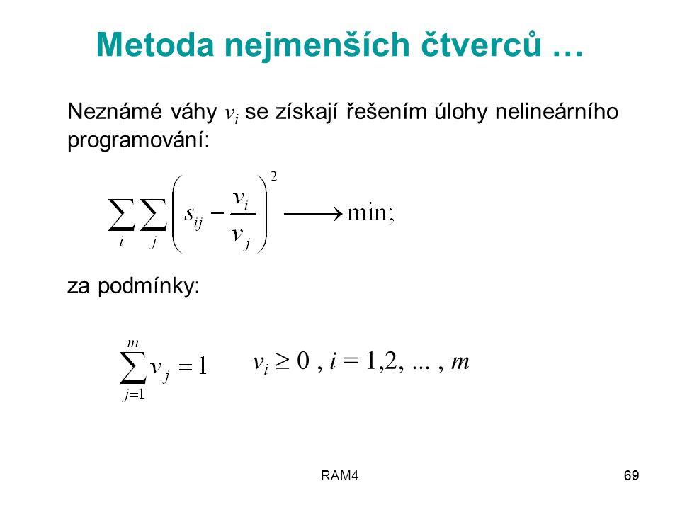RAM469 Neznámé váhy v i se získají řešením úlohy nelineárního programování: za podmínky: v i  0, i = 1,2,..., m Metoda nejmenších čtverců …