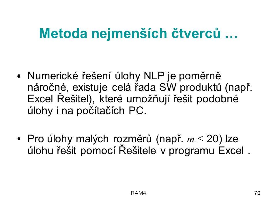 RAM470 Numerické řešení úlohy NLP je poměrně náročné, existuje celá řada SW produktů (např. Excel Řešitel), které umožňují řešit podobné úlohy i na po