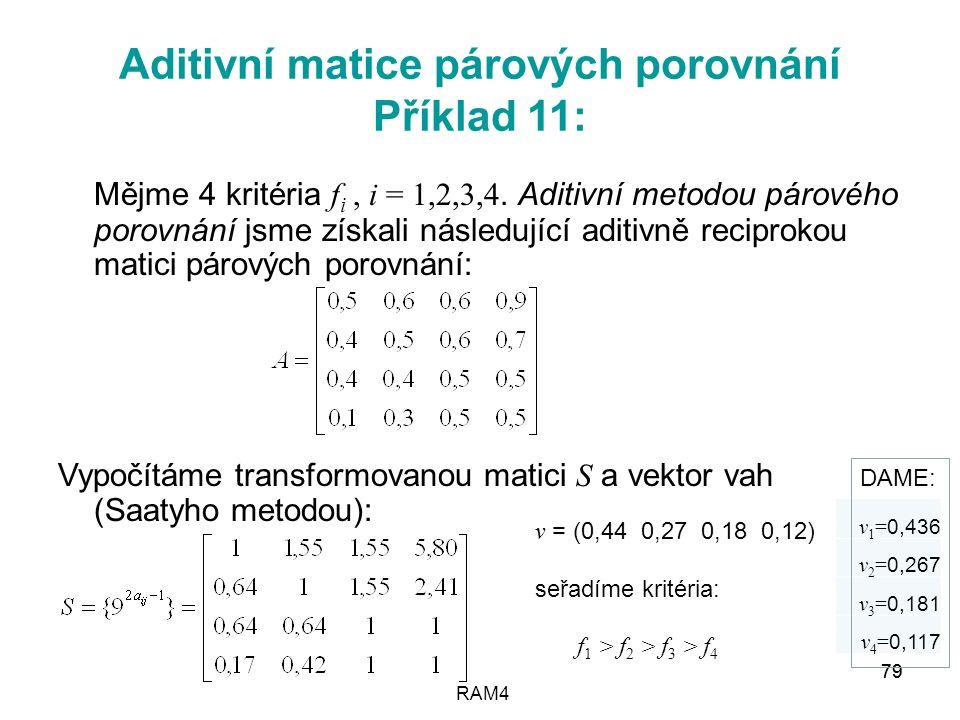 RAM4 79 Aditivní matice párových porovnání Příklad 11: Mějme 4 kritéria f i, i = 1,2,3,4. Aditivní metodou párového porovnání jsme získali následující