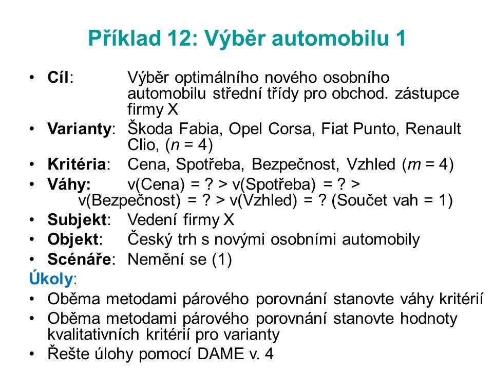 Příklad 12: Výběr automobilu 1 Cíl:Výběr optimálního nového osobního automobilu střední třídy pro obchod. zástupce firmy X Varianty:Škoda Fabia, Opel