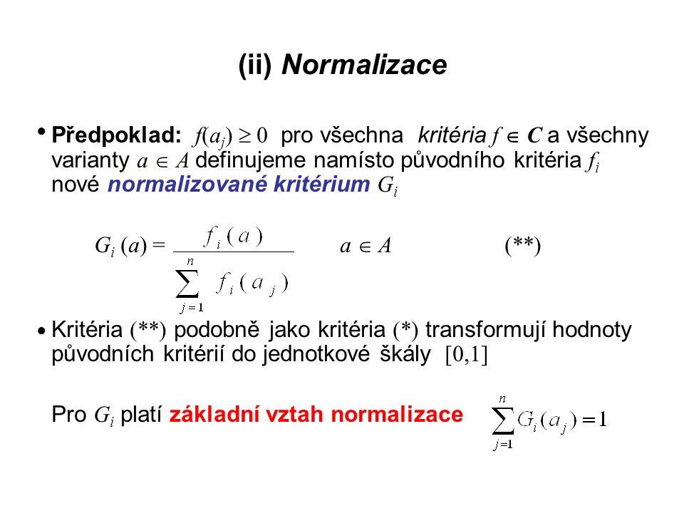 Metody založené na funkci užitku Varianta a  A má podle i -tého kritéria ohodnocení h = f i (a) a toto ohodnocení přináší užitek u i (h) = u i (f i (a)) Tento užitek roste, nebo alespoň neklesá, s rostoucím ohodnocením h Speciálním případem i-té dílčí funkce užitku je funkce: u i : [D i, H i ]  [0,1] kde D i je nejméně preferovaná hodnota vzhledem k f i, taková, že platí u i (D i ) = 0 ● ● ●