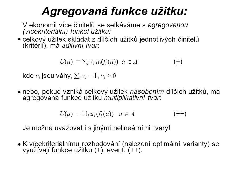 Agregovaná funkce užitku: V ekonomii více činitelů se setkáváme s agregovanou (vícekriteriální) funkcí užitku: celkový užitek skládat z dílčích užitků