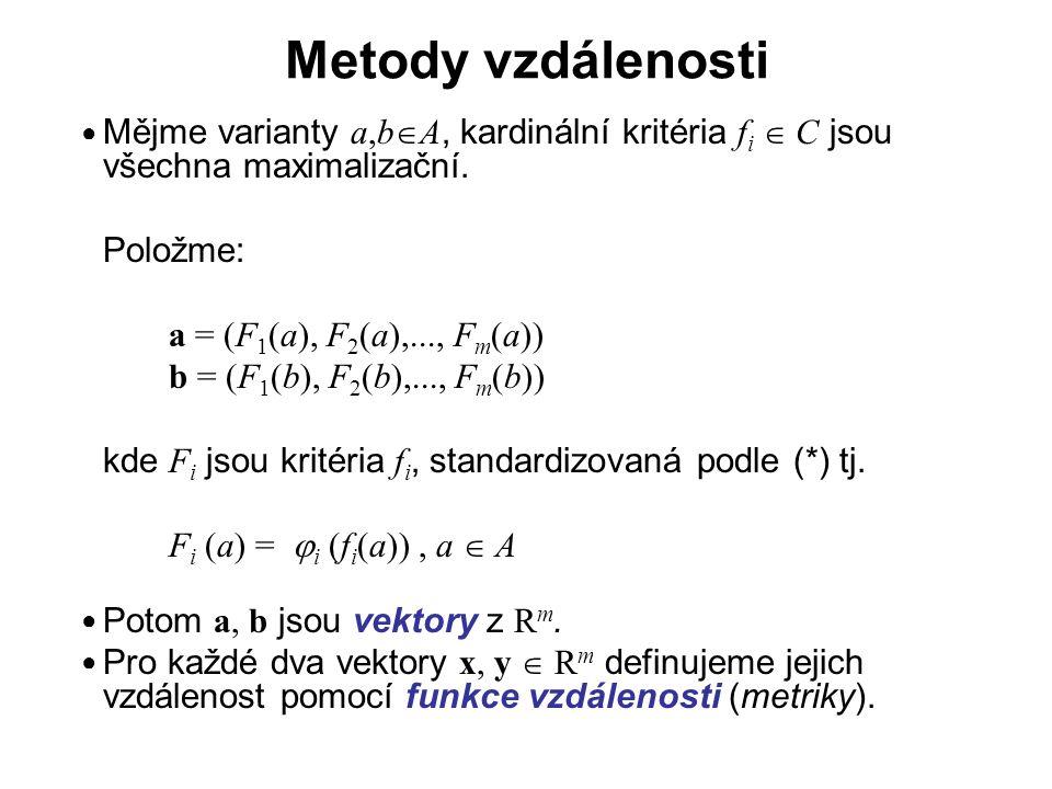 Metody vzdálenosti … Definice Funkce vzdálenosti Funkci d : R m  R m  R nazýváme funkcí vzdálenosti v R m (metrikou v R m ), splňuje-li následující 3 podmínky: (i) d(x,y)  0 pro všechny x,y  R m ( nezápornost ) (ii) d(x,x) = 0 pro všechny x  R m ( jednoznačnost ) (iii) d(x,y) + d(y,z)  d(x,z) pro všechny x,y,z  R m ( trojúhelníková nerovnost ) ● ● ●