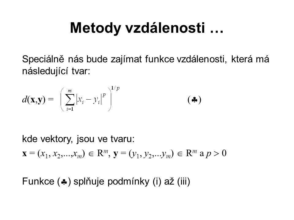 Metody vzdálenosti … Euklidovská, Čebyševova a Minkowského vzdálenost: Pro p = 2 se funkce vzdálenosti (  ) nazývá Euklidovská vzdálenost a má tvar: d(x,y) = (  i (x i - y i ) 2 ) 1/2 Pro p  0 + se funkce (  ) nazývá Čebyševova vzdálenost a má tvar: d(x,y) = max i  x i - y i  Pro p  +  se funkce vzdálenosti (  ) nazývá Minkowského vzdálenost a má tvar: d(x,y) =  i  x i - y i  ● ● ●