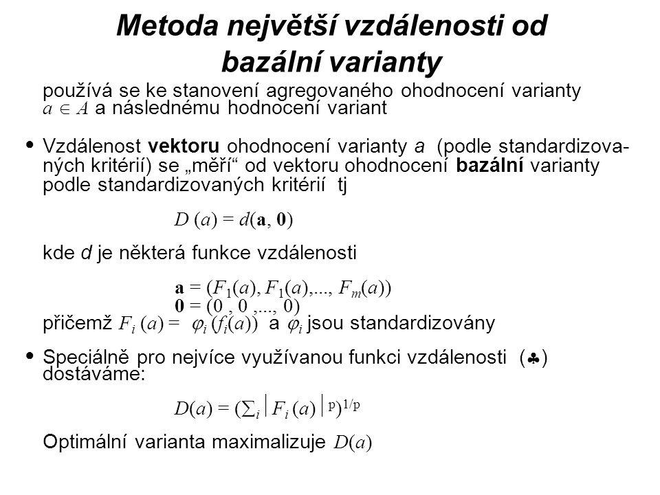 Metoda největší vzdálenosti od bazální varianty používá se ke stanovení agregovaného ohodnocení varianty a  A a následnému hodnocení variant Vzdáleno