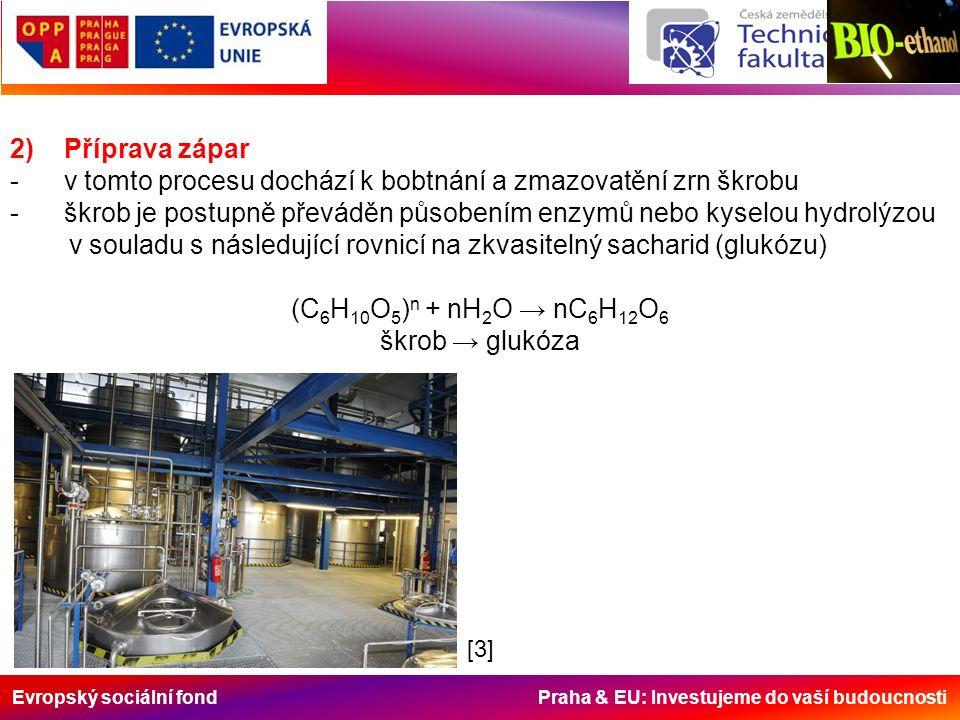 Evropský sociální fond Praha & EU: Investujeme do vaší budoucnosti 2) Příprava zápar - v tomto procesu dochází k bobtnání a zmazovatění zrn škrobu - škrob je postupně převáděn působením enzymů nebo kyselou hydrolýzou v souladu s následující rovnicí na zkvasitelný sacharid (glukózu) (C 6 H 10 O 5 ) n + nH 2 O → nC 6 H 12 O 6 škrob → glukóza [3]