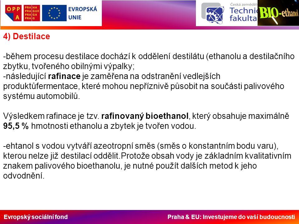 Evropský sociální fond Praha & EU: Investujeme do vaší budoucnosti 4) Destilace -během procesu destilace dochází k oddělení destilátu (ethanolu a destilačního zbytku, tvořeného obilnými výpalky; -následující rafinace je zaměřena na odstranění vedlejších produktůfermentace, které mohou nepříznivě působit na součásti palivového systému automobilů.