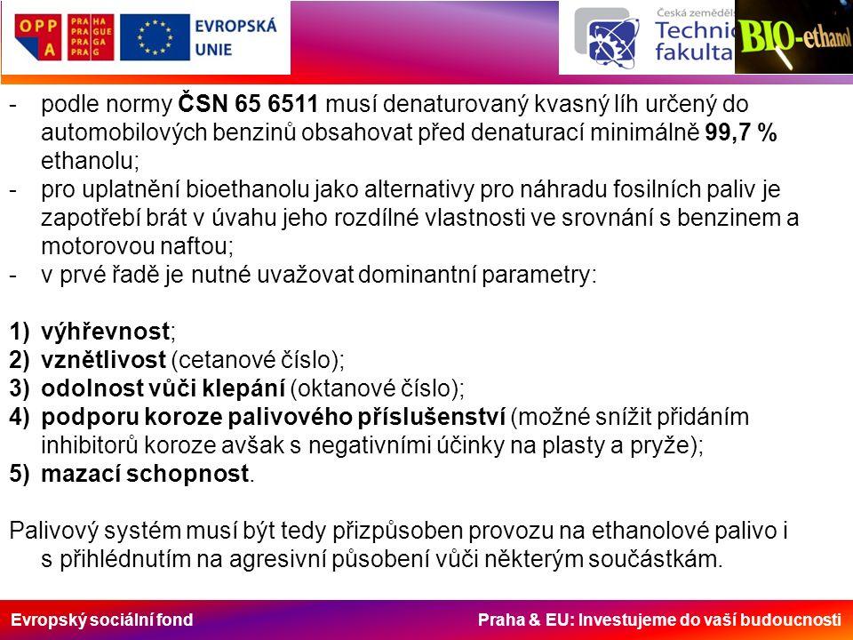 Evropský sociální fond Praha & EU: Investujeme do vaší budoucnosti -podle normy ČSN 65 6511 musí denaturovaný kvasný líh určený do automobilových benzinů obsahovat před denaturací minimálně 99,7 % ethanolu; -pro uplatnění bioethanolu jako alternativy pro náhradu fosilních paliv je zapotřebí brát v úvahu jeho rozdílné vlastnosti ve srovnání s benzinem a motorovou naftou; -v prvé řadě je nutné uvažovat dominantní parametry: 1)výhřevnost; 2)vznětlivost (cetanové číslo); 3)odolnost vůči klepání (oktanové číslo); 4)podporu koroze palivového příslušenství (možné snížit přidáním inhibitorů koroze avšak s negativními účinky na plasty a pryže); 5)mazací schopnost.