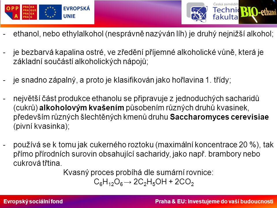 Evropský sociální fond Praha & EU: Investujeme do vaší budoucnosti Porovnání výhřevnosti a hustoty jednotlivých paliv