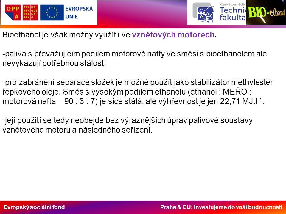 Evropský sociální fond Praha & EU: Investujeme do vaší budoucnosti Bioethanol je však možný využít i ve vznětových motorech.