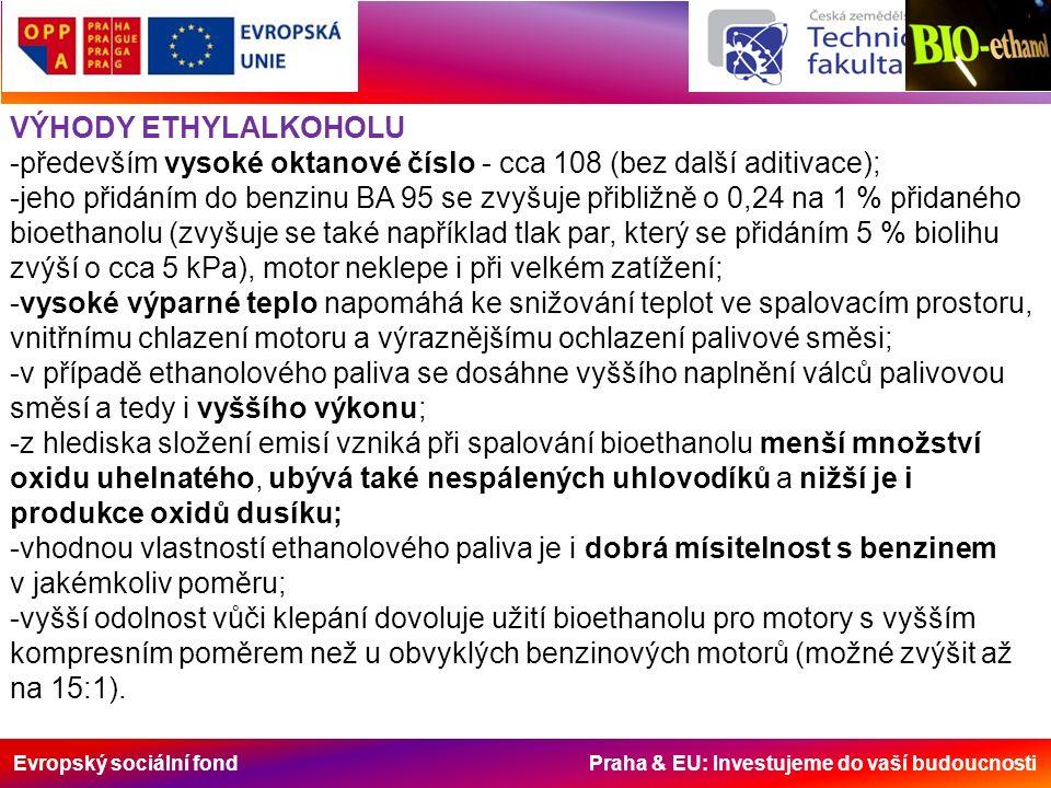 Evropský sociální fond Praha & EU: Investujeme do vaší budoucnosti VÝHODY ETHYLALKOHOLU -především vysoké oktanové číslo - cca 108 (bez další aditivace); -jeho přidáním do benzinu BA 95 se zvyšuje přibližně o 0,24 na 1 % přidaného bioethanolu (zvyšuje se také například tlak par, který se přidáním 5 % biolihu zvýší o cca 5 kPa), motor neklepe i při velkém zatížení; -vysoké výparné teplo napomáhá ke snižování teplot ve spalovacím prostoru, vnitřnímu chlazení motoru a výraznějšímu ochlazení palivové směsi; -v případě ethanolového paliva se dosáhne vyššího naplnění válců palivovou směsí a tedy i vyššího výkonu; -z hlediska složení emisí vzniká při spalování bioethanolu menší množství oxidu uhelnatého, ubývá také nespálených uhlovodíků a nižší je i produkce oxidů dusíku; -vhodnou vlastností ethanolového paliva je i dobrá mísitelnost s benzinem v jakémkoliv poměru; -vyšší odolnost vůči klepání dovoluje užití bioethanolu pro motory s vyšším kompresním poměrem než u obvyklých benzinových motorů (možné zvýšit až na 15:1).
