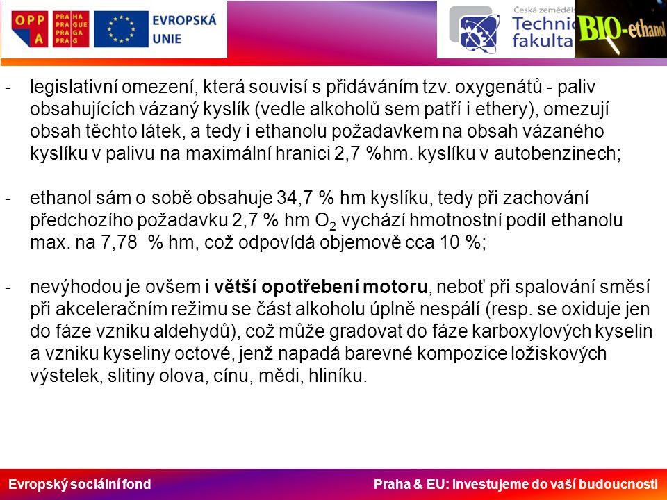 Evropský sociální fond Praha & EU: Investujeme do vaší budoucnosti -legislativní omezení, která souvisí s přidáváním tzv.