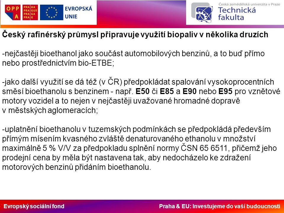 Evropský sociální fond Praha & EU: Investujeme do vaší budoucnosti Český rafinérský průmysl připravuje využití biopaliv v několika druzích -nejčastěji bioethanol jako součást automobilových benzinů, a to buď přímo nebo prostřednictvím bio-ETBE; -jako další využití se dá též (v ČR) předpokládat spalování vysokoprocentních směsí bioethanolu s benzinem - např.