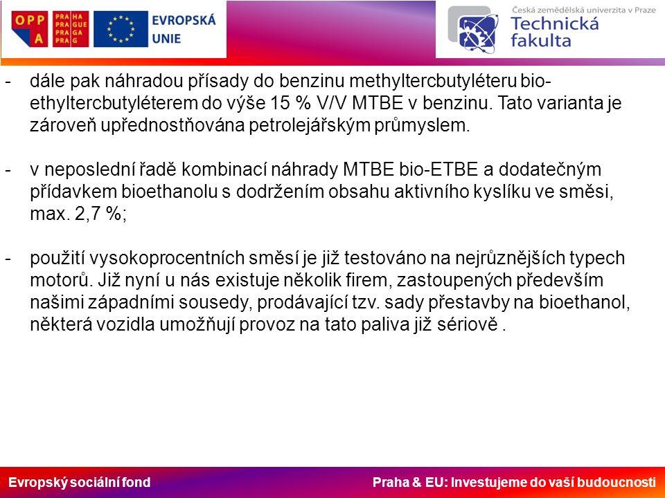 Evropský sociální fond Praha & EU: Investujeme do vaší budoucnosti -dále pak náhradou přísady do benzinu methyltercbutyléteru bio- ethyltercbutyléterem do výše 15 % V/V MTBE v benzinu.