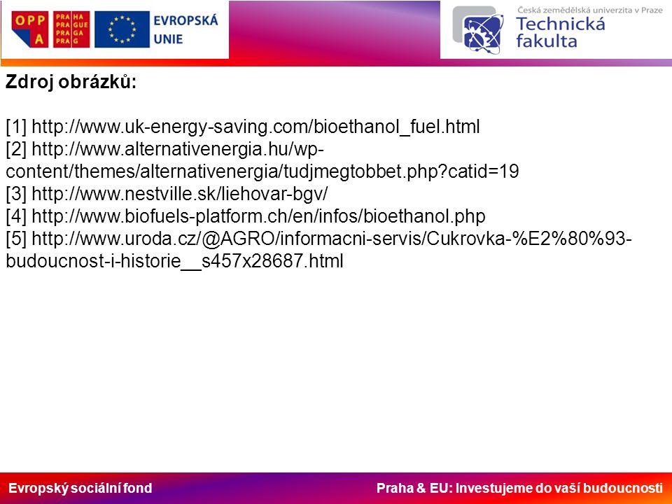 Evropský sociální fond Praha & EU: Investujeme do vaší budoucnosti Zdroj obrázků: [1] http://www.uk-energy-saving.com/bioethanol_fuel.html [2] http://www.alternativenergia.hu/wp- content/themes/alternativenergia/tudjmegtobbet.php catid=19 [3] http://www.nestville.sk/liehovar-bgv/ [4] http://www.biofuels-platform.ch/en/infos/bioethanol.php [5] http://www.uroda.cz/@AGRO/informacni-servis/Cukrovka-%E2%80%93- budoucnost-i-historie__s457x28687.html