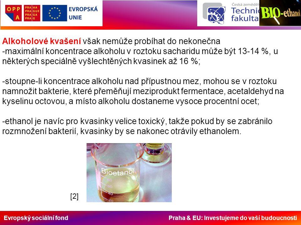 Evropský sociální fond Praha & EU: Investujeme do vaší budoucnosti Alkoholové kvašení však nemůže probíhat do nekonečna -maximální koncentrace alkoholu v roztoku sacharidu může být 13-14 %, u některých speciálně vyšlechtěných kvasinek až 16 %; -stoupne-li koncentrace alkoholu nad přípustnou mez, mohou se v roztoku namnožit bakterie, které přeměňují meziprodukt fermentace, acetaldehyd na kyselinu octovou, a místo alkoholu dostaneme vysoce procentní ocet; -ethanol je navíc pro kvasinky velice toxický, takže pokud by se zabránilo rozmnožení bakterií, kvasinky by se nakonec otrávily ethanolem.