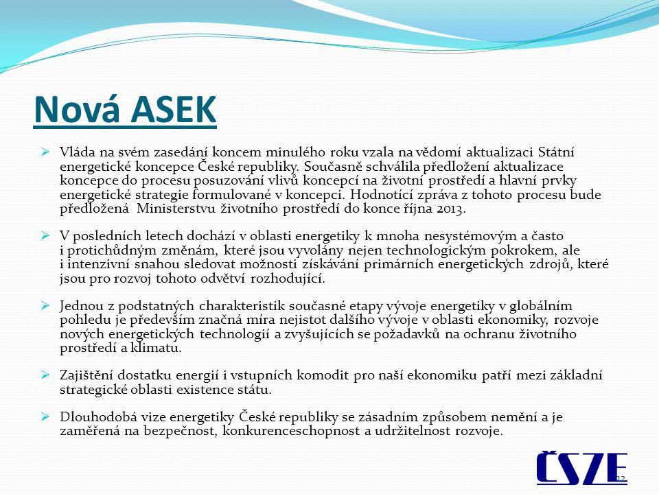 Nová ASEK  Vláda na svém zasedání koncem minulého roku vzala na vědomí aktualizaci Státní energetické koncepce České republiky. Současně schválila př