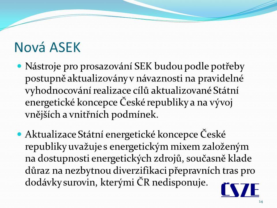 Nová ASEK Nástroje pro prosazování SEK budou podle potřeby postupně aktualizovány v návaznosti na pravidelné vyhodnocování realizace cílů aktualizované Státní energetické koncepce České republiky a na vývoj vnějších a vnitřních podmínek.