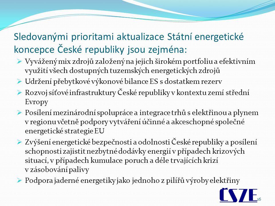 Sledovanými prioritami aktualizace Státní energetické koncepce České republiky jsou zejména:  Vyvážený mix zdrojů založený na jejich širokém portfoliu a efektivním využití všech dostupných tuzemských energetických zdrojů  Udržení přebytkové výkonové bilance ES s dostatkem rezerv  Rozvoj síťové infrastruktury České republiky v kontextu zemí střední Evropy  Posílení mezinárodní spolupráce a integrace trhů s elektřinou a plynem v regionu včetně podpory vytváření účinné a akceschopné společné energetické strategie EU  Zvýšení energetické bezpečnosti a odolnosti České republiky a posílení schopnosti zajistit nezbytné dodávky energií v případech krizových situací, v případech kumulace poruch a déle trvajících krizí v zásobování palivy  Podpora jaderné energetiky jako jednoho z pilířů výroby elektřiny 16