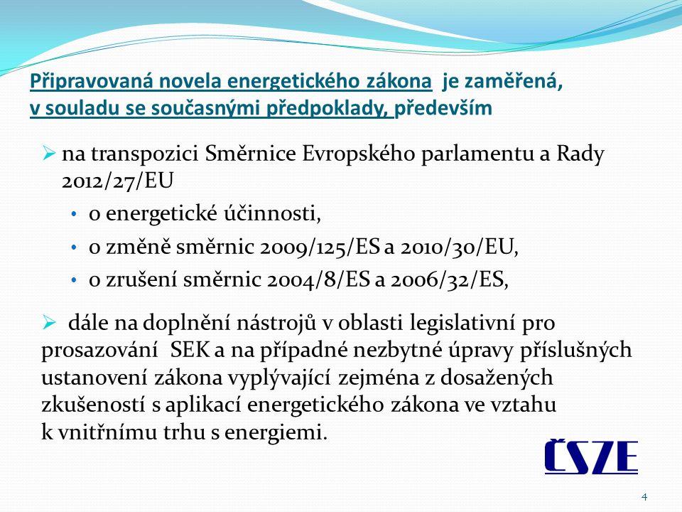 Připravovaná novela energetického zákona je zaměřená, v souladu se současnými předpoklady, především  na transpozici Směrnice Evropského parlamentu a Rady 2012/27/EU o energetické účinnosti, o změně směrnic 2009/125/ES a 2010/30/EU, o zrušení směrnic 2004/8/ES a 2006/32/ES,  dále na doplnění nástrojů v oblasti legislativní pro prosazování SEK a na případné nezbytné úpravy příslušných ustanovení zákona vyplývající zejména z dosažených zkušeností s aplikací energetického zákona ve vztahu k vnitřnímu trhu s energiemi.