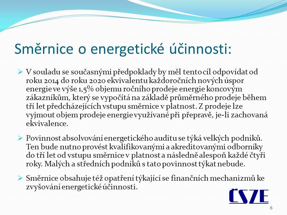 Směrnice o energetické účinnosti:  V souladu se současnými předpoklady by měl tento cíl odpovídat od roku 2014 do roku 2020 ekvivalentu každoročních nových úspor energie ve výše 1,5% objemu ročního prodeje energie koncovým zákazníkům, který se vypočítá na základě průměrného prodeje během tří let předcházejících vstupu směrnice v platnost.